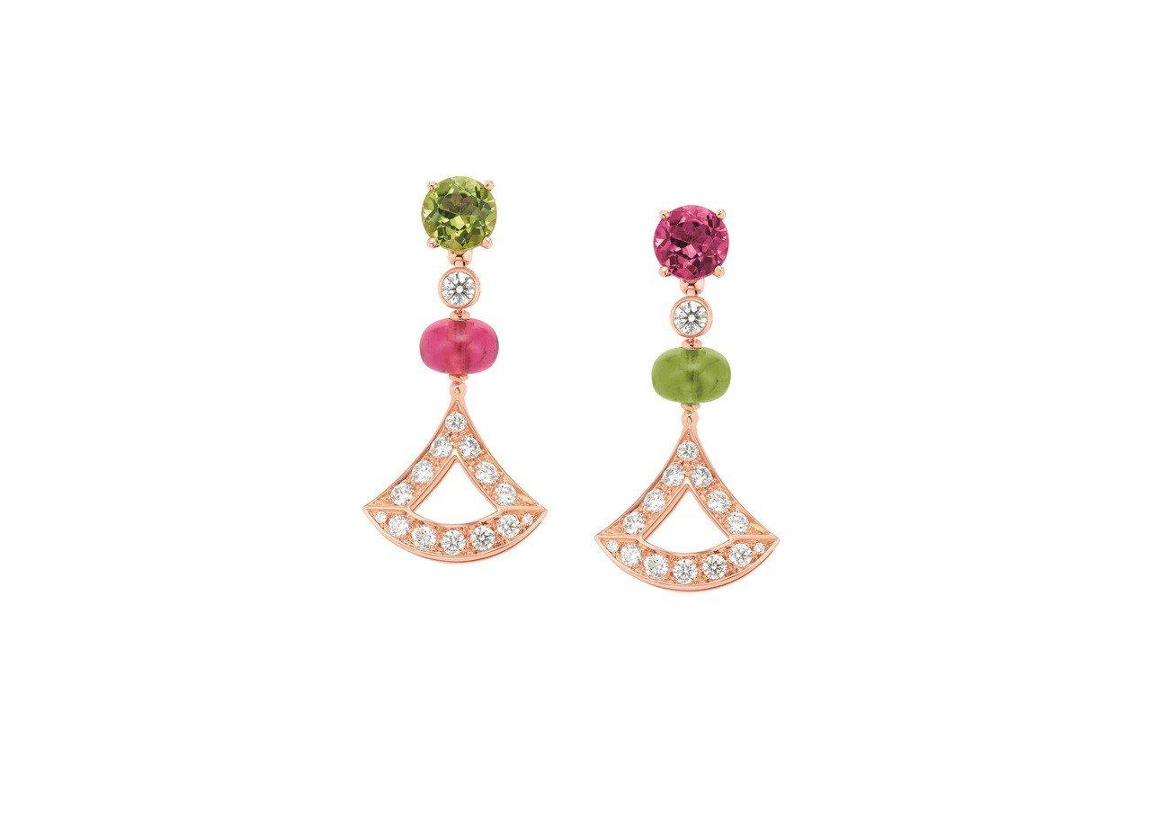 BVLGARI DIVAS' DREAM系列玫瑰金紅碧璽、橄欖石與鑽石耳環,31...