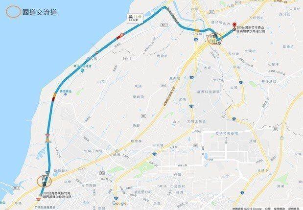 台61北上改道至國3香山交流道示意圖。圖/高公局提供