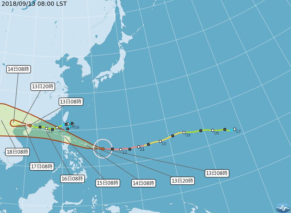 強颱山竹後天最靠近台灣,明天可能發布海上警報。圖/翻攝自中央氣象局網站