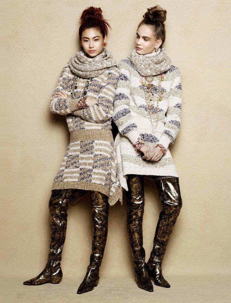 香奈兒秋冬以4款低跟鞋型繼續打造纖細輪廓,並結合本季服裝以「森林」為靈感的設計元...