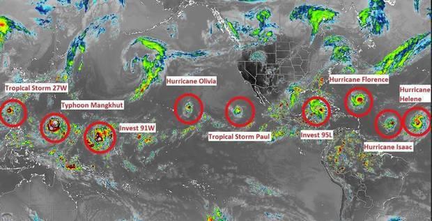 Jamaica Weather提供的照片顯示,北半球颱風、颶風和熱帶氣旋總共多達...