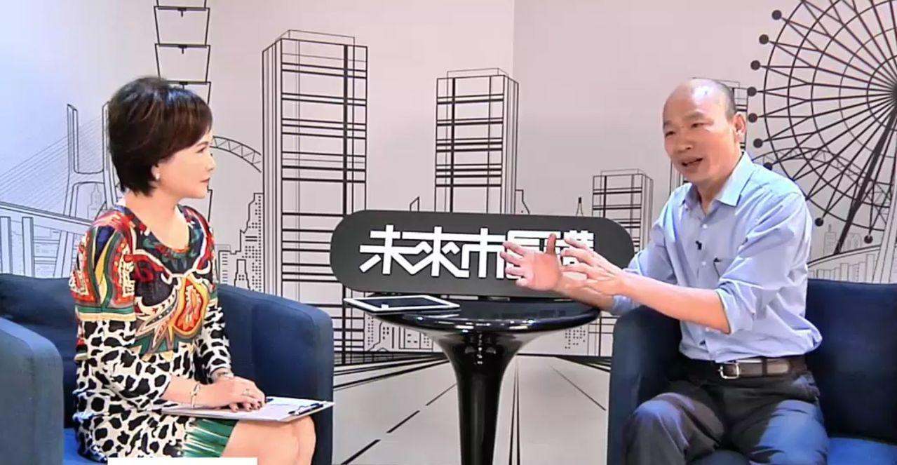 國民黨高雄市長參選人韓國瑜(右)接受Line Today專訪,感謝台北市長柯文哲...