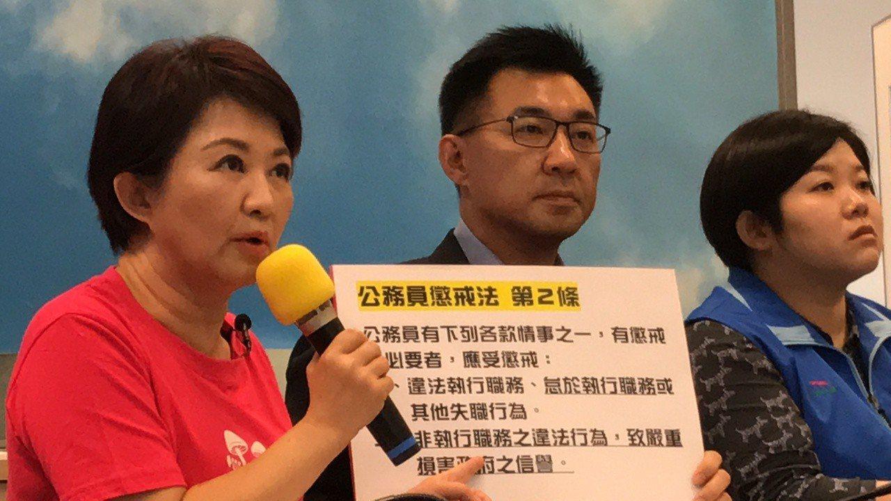 盧秀燕(左)要求總統蔡英文管管林佳龍。記者陳秋雲/攝影