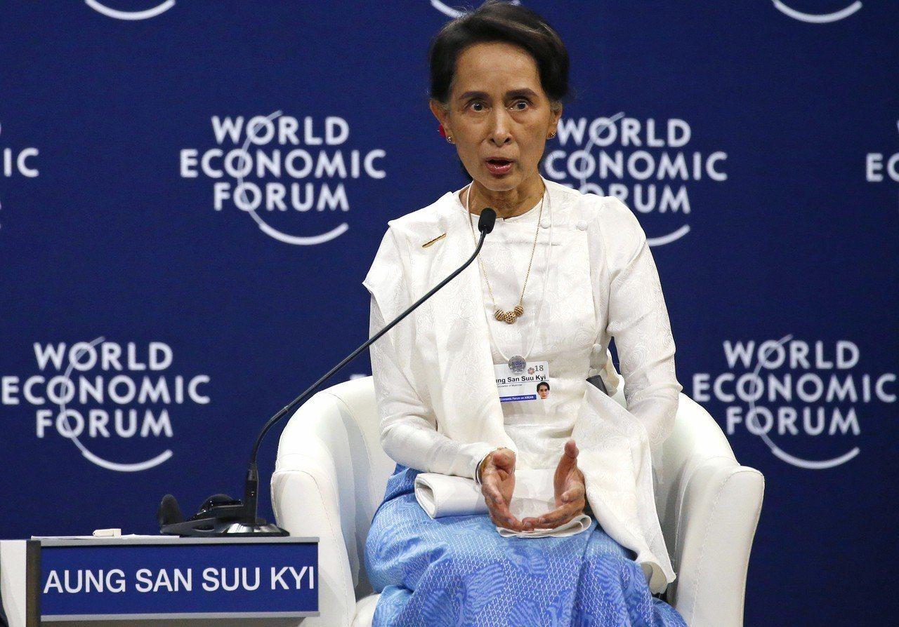 緬甸實質領導人翁山蘇姬,13日在越南參加世界經濟論壇東協峰會,表達對路透社記者入...