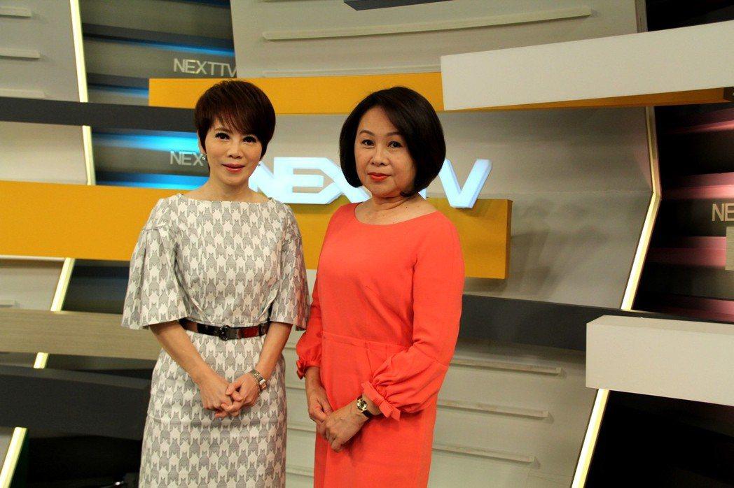 鄺麗貞(右)接受壹電視總編輯陳雅琳的獨家專訪。圖/壹電視提供