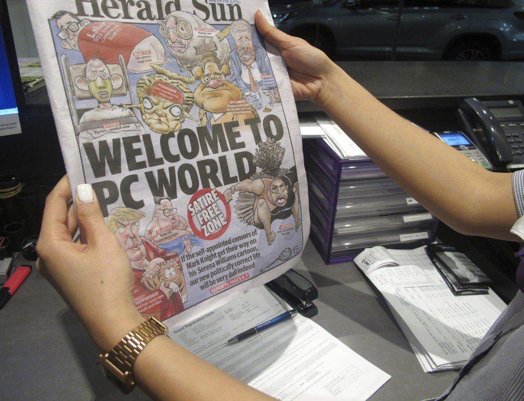 先鋒太陽報隔天以頭版全版漫畫力挺旗下記者,並藉機諷刺過頭的政治正確。 美聯社
