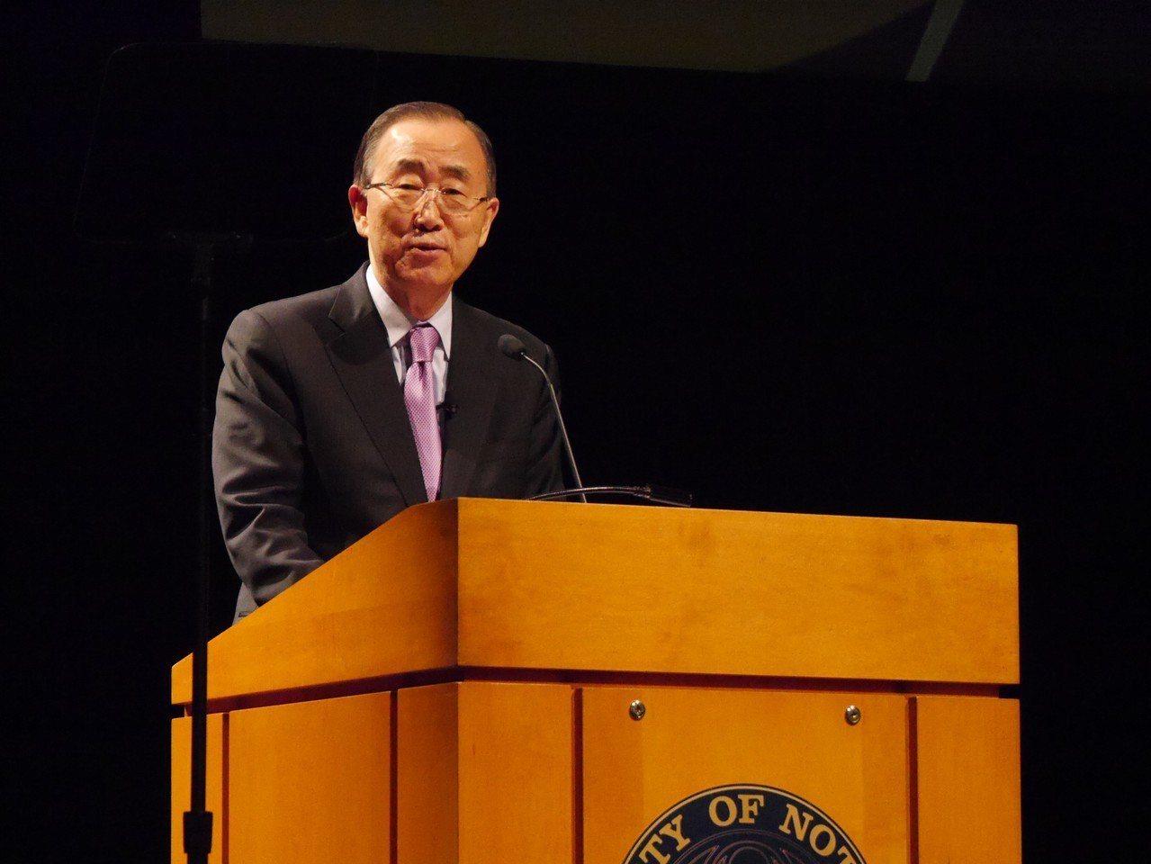 聯合國前秘書長潘基文表示樂見川金二會,但對「美國優先」主張失望。 記者黃惠玲攝影