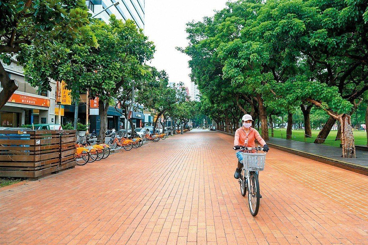 「台中之心」已完成路段,自行車道平坦且寬敞,旁邊就有i-bike租借站。 圖...