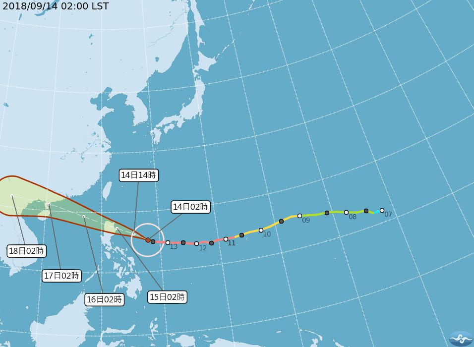 強颱山竹以每小時23公里速度,向西北西進行。圖/翻攝自中央氣象局網站