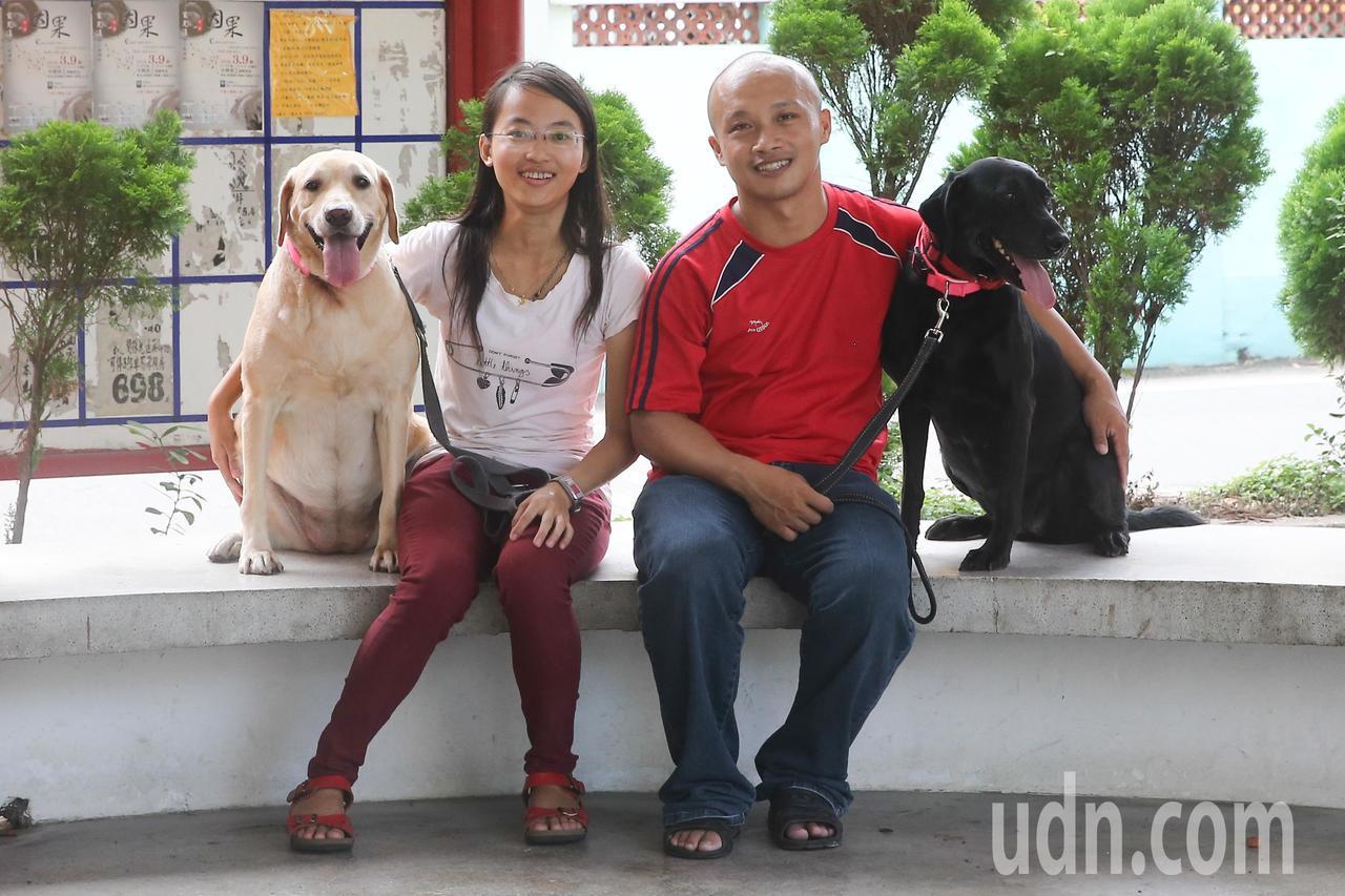 擔任海關緝毒犬認養家庭的陳瑋婷(左)家中有三隻拉布拉多犬,除了Frank還在服役...