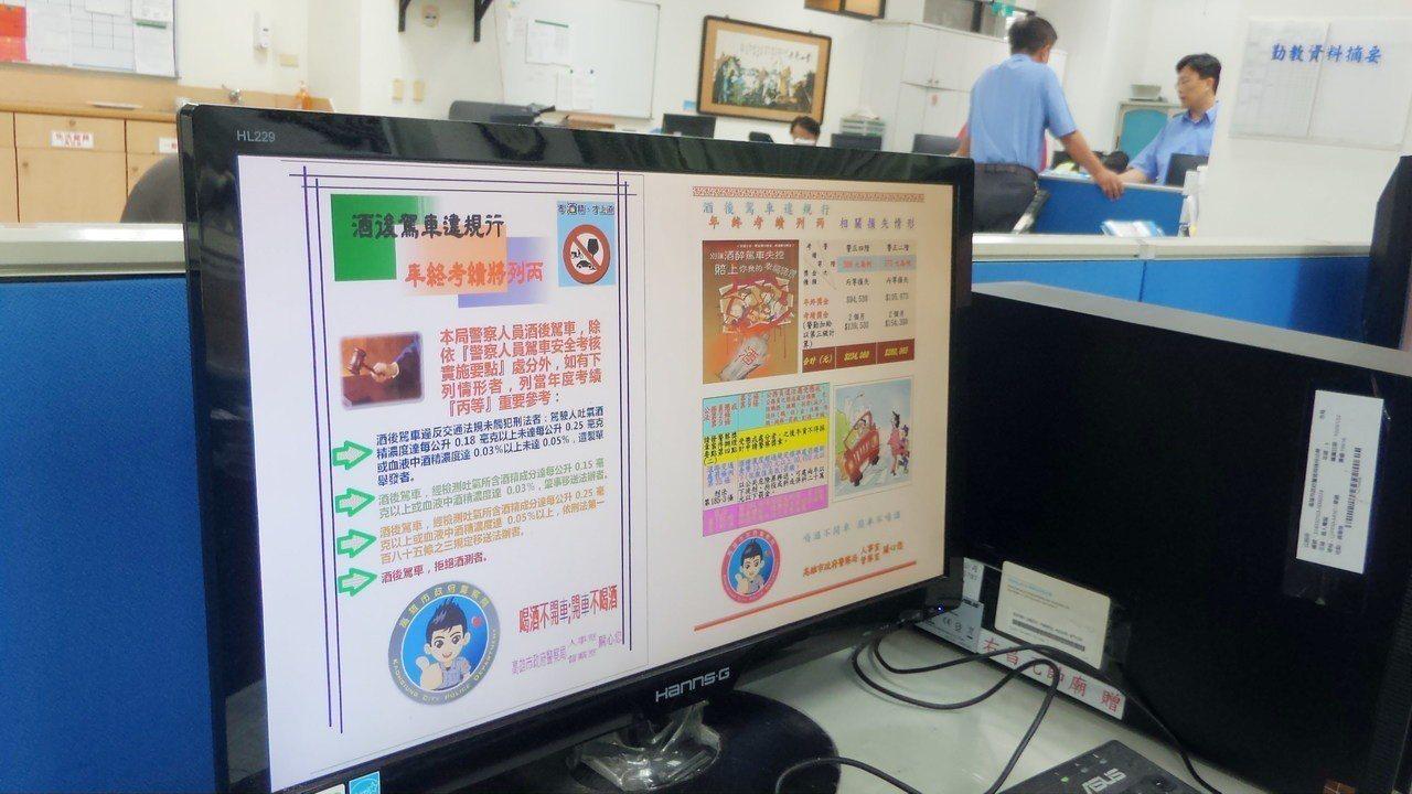 高雄市警方在電腦螢幕都顯示警告酒駕後果,單位主管平時也要求部屬勿酒駕,卻有績優偵...