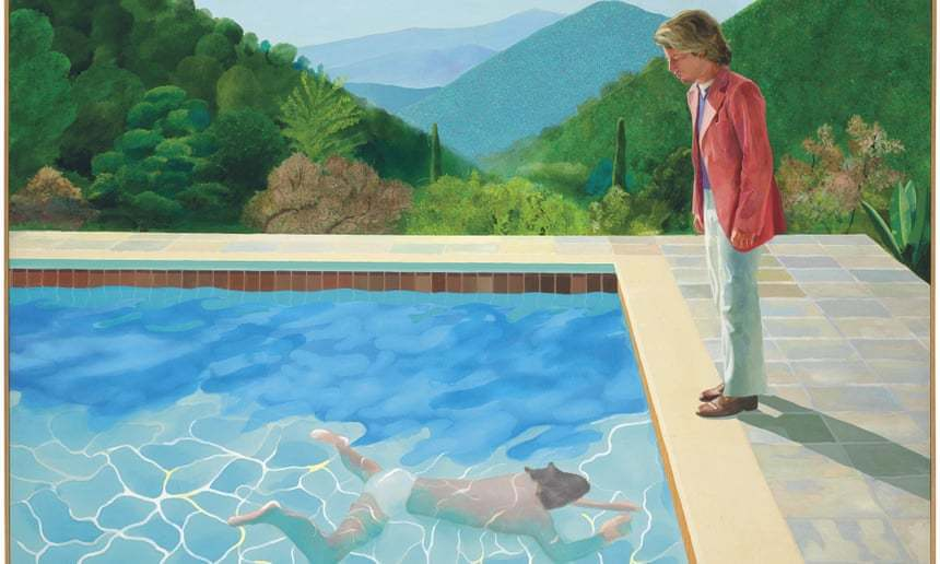 英國畫家霍克尼(David Hockney)的《藝術家肖像畫:游泳池畔的兩個人》...