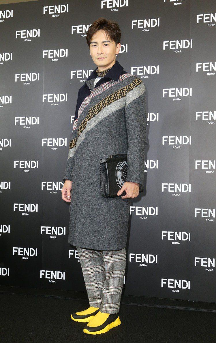 鄭元暢穿冬季大衣出席FENDI全新台北101旗艦店開幕酒會。圖/記者陳立凱攝影