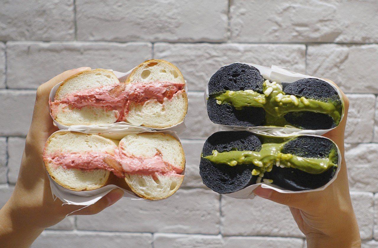 台中限定款「厚醬貝果」,每份99元,抹醬至少厚達1.3公分以上。記者沈佩臻/攝影