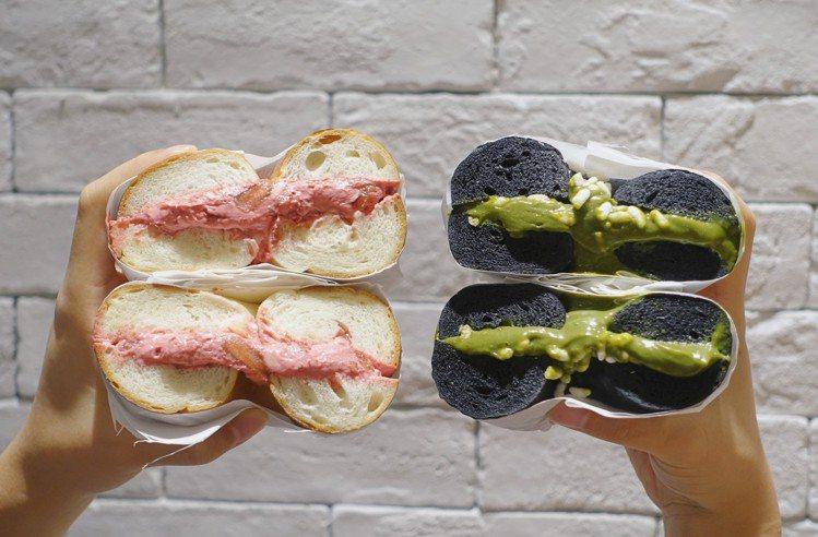 台中限定款「厚醬貝果」,每份99元,抹醬至少厚達1.3公分以上。圖/記者沈佩臻攝...