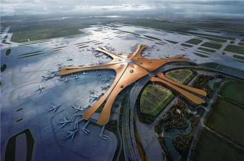 北京大興國際機場效果圖。(取自網路)