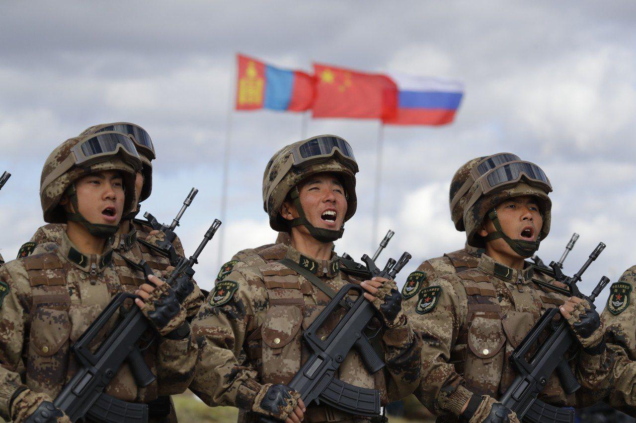中俄軍事演習。 美聯社