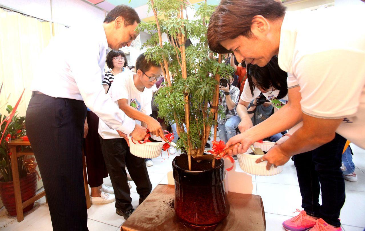 新北市長朱立倫與庇護工場孩子們,一起栽種希望之樹,並為它們澆灑養分。記者王敏旭/...