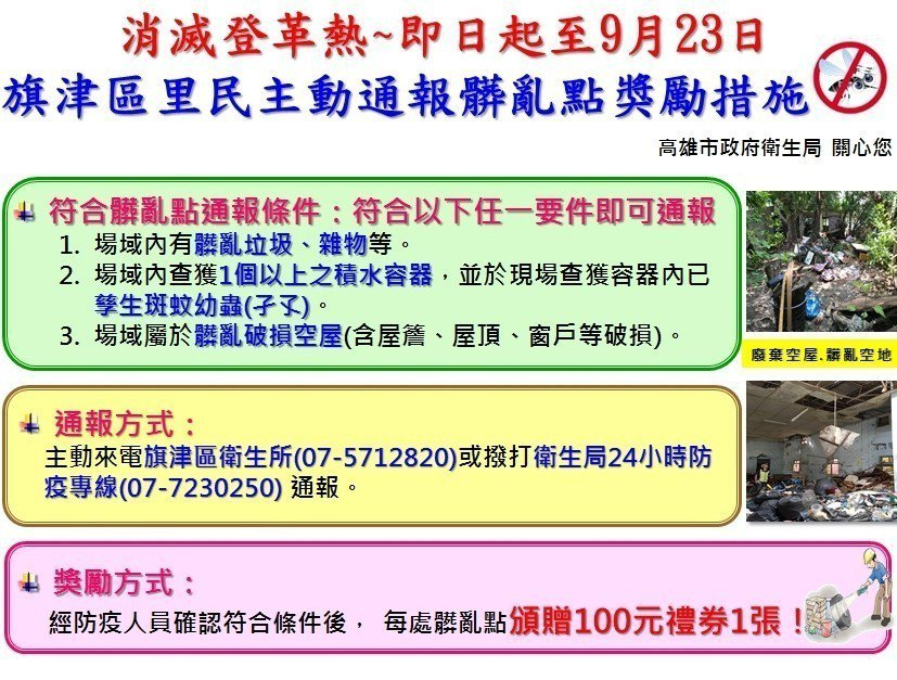 衛生局即日起至9月23日啟動「旗津區市民自主通報髒亂點獎勵計畫」。圖/高雄市衛生...
