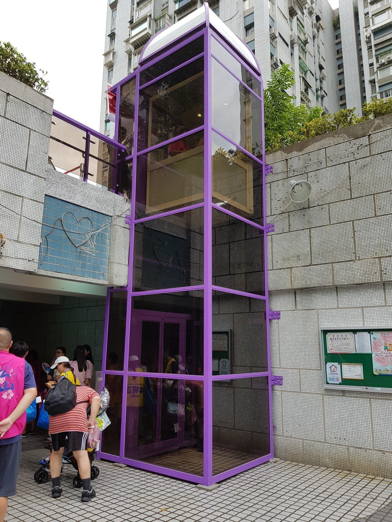 松山區龍田區民活動中心升降平台今天正式啟用。記者翁浩然/攝影