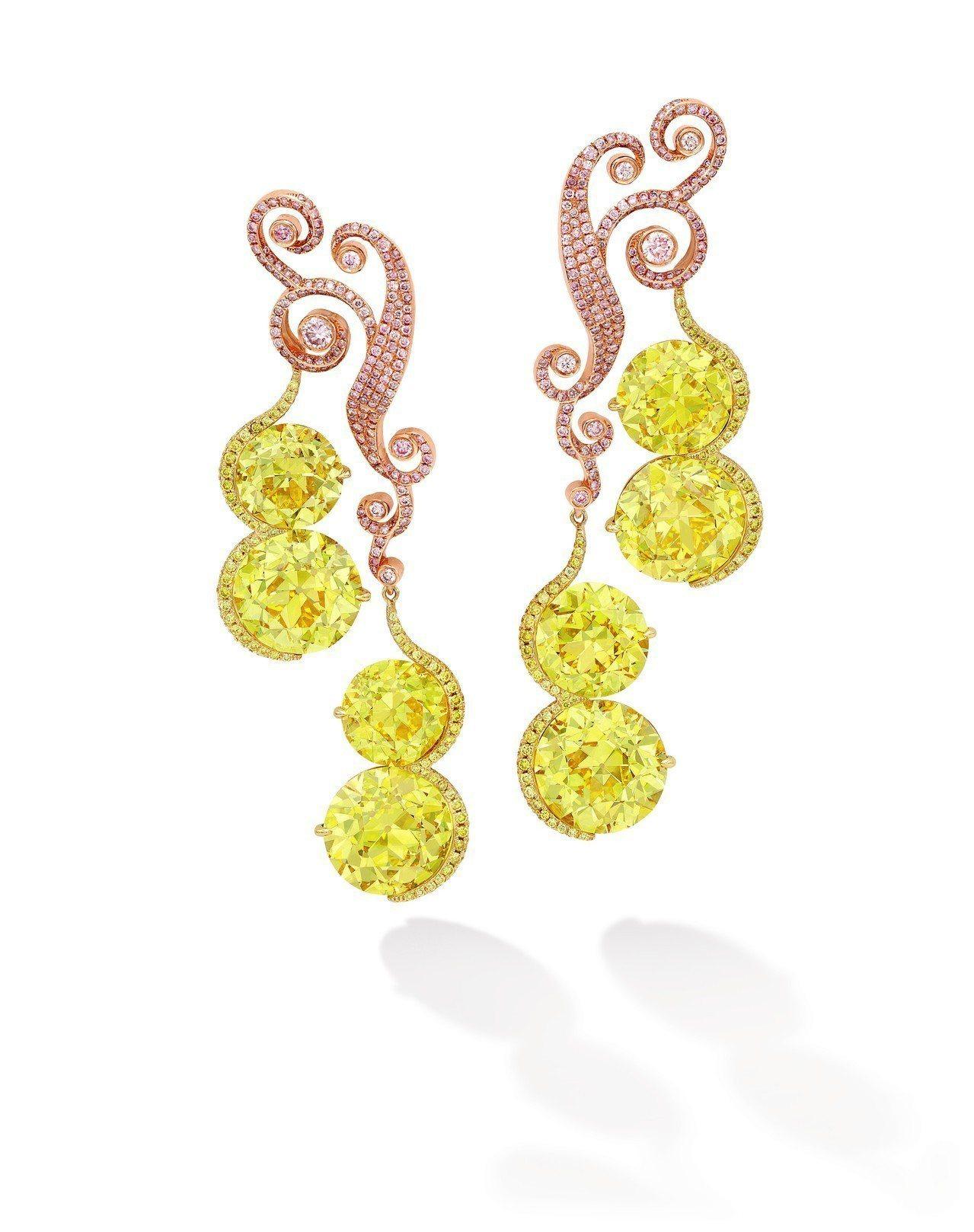 骨董切磨艷彩黃色鑽石耳環,艷彩黃鑽共重51.17克拉,估價約1.48億元起。圖/...
