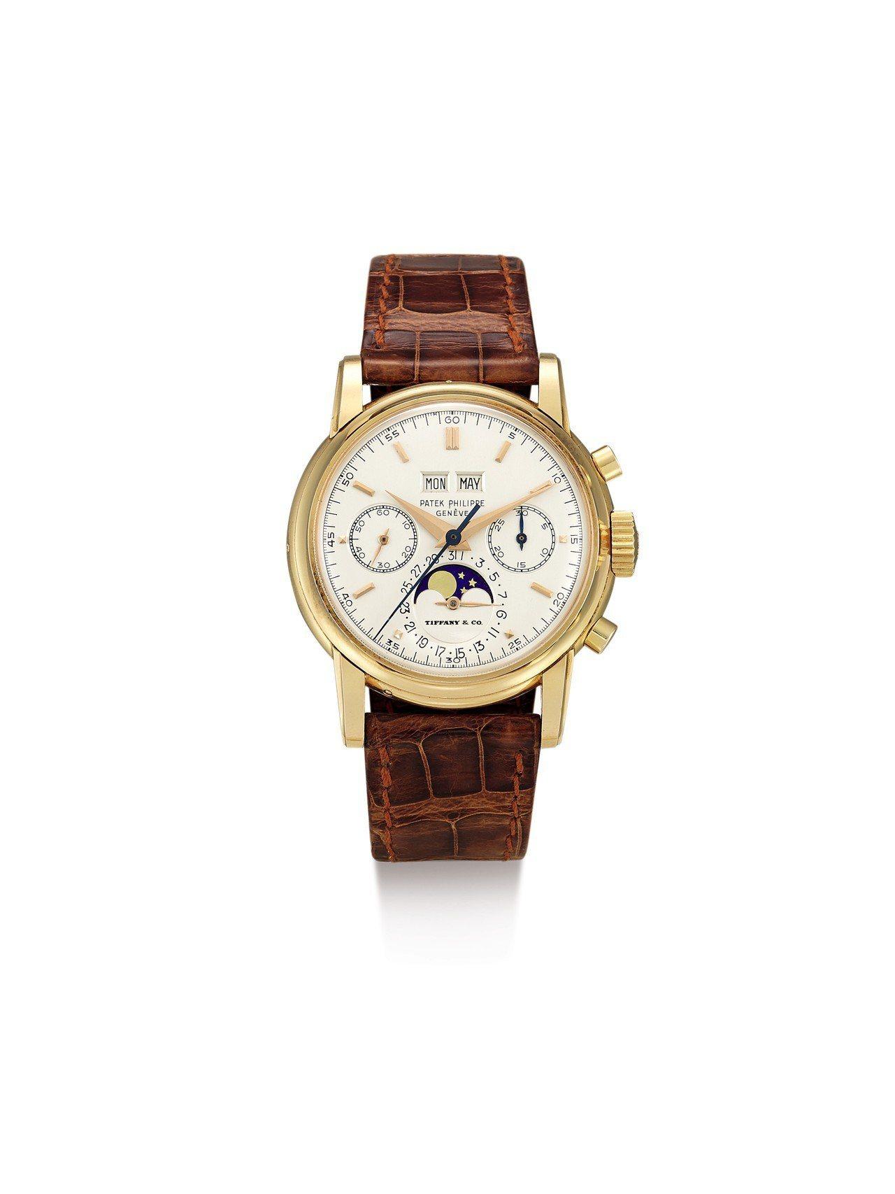 百達翡麗2499型號罕有粉紅金萬年曆計時腕表備月相顯示,由蒂芙尼發行,估價約4,...