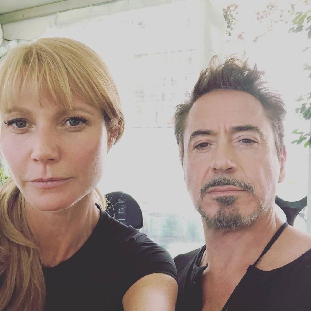 葛妮絲派楚與小勞勃道尼在「復仇者聯盟4」補拍空檔合照。圖/摘自Instagram