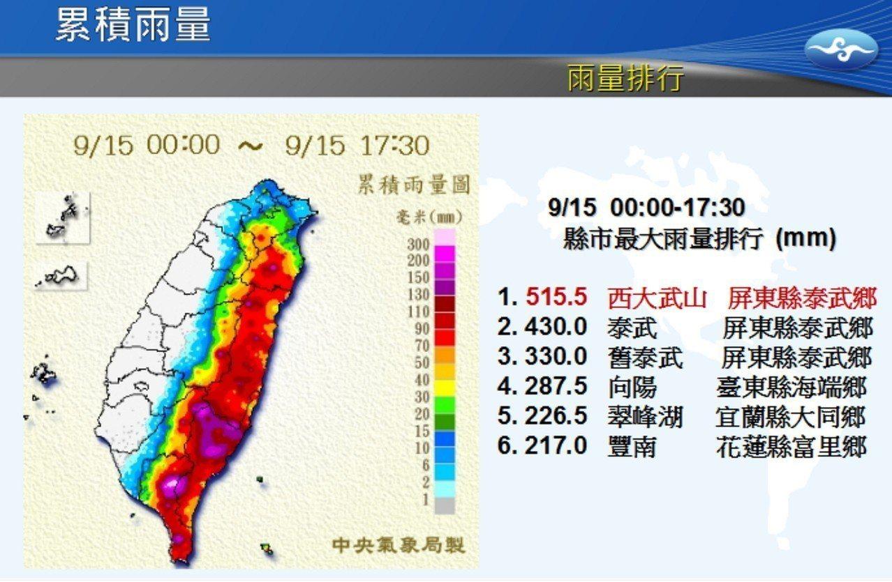 中颱山竹颱風遠離,中央災害應變中心今晚8時30分解除海上颱風警報,氣象局表示,累...
