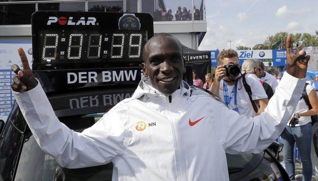 基普喬蓋打破馬拉松世界紀錄。 美聯社