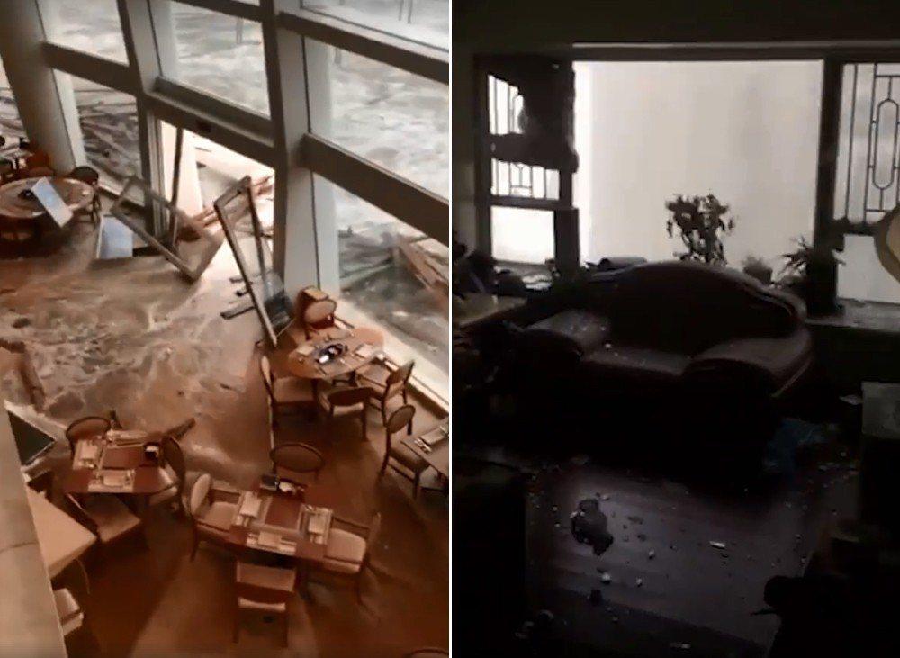 「山竹」颱風肆虐珠三角,網友拍下各種災情。 圖擷自臉書「LIHKG」