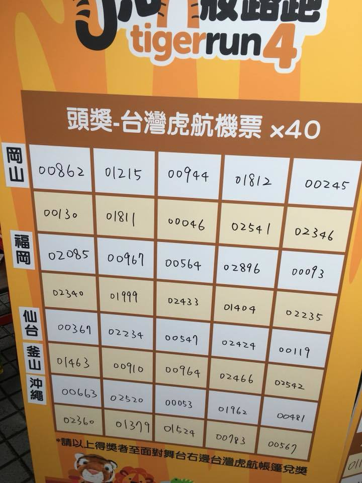 台灣虎航辦路跑送機票。擷自台灣虎航之虎妝路跑臉書