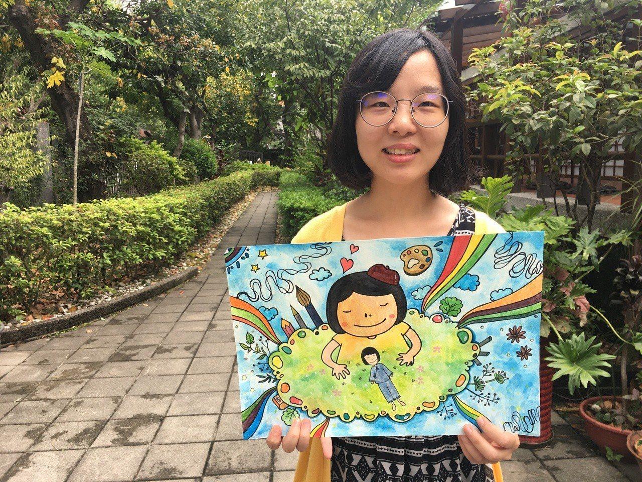 插畫家王文千總會把自己一大一小的鼻孔畫出來自娛。 記者鄧桂芬/攝影