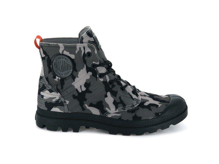 PALLADIUM PAMPA Amphibian黑灰迷彩軍靴,2,880元。圖...