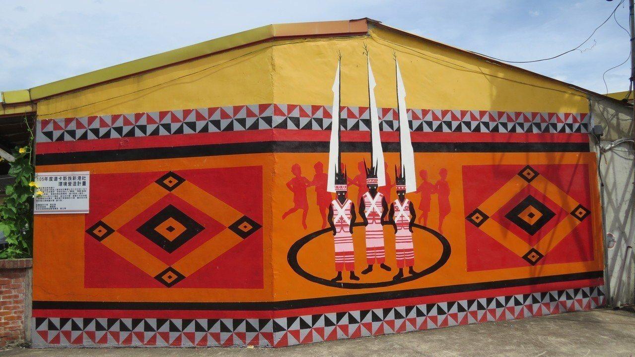 苗栗縣後龍鎮紫雲宮附近一帶社區牆面繪製道卡斯族文化意象彩繪,提供了解道卡斯族傳統...