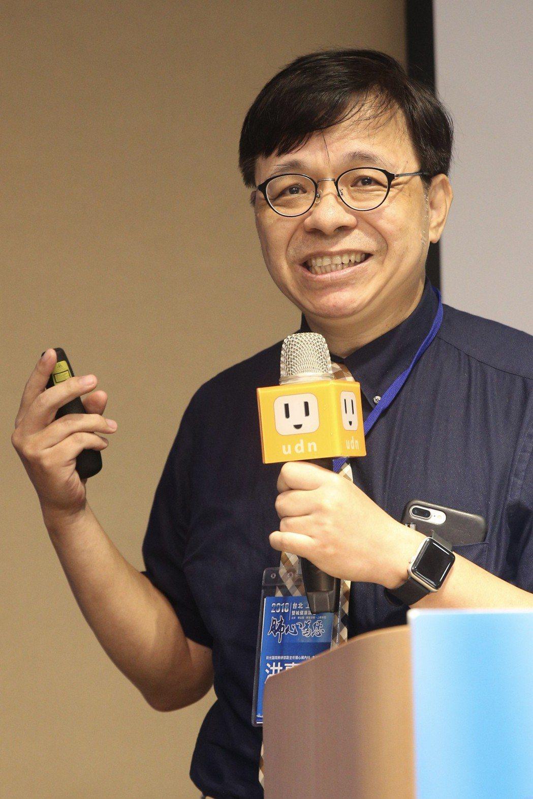 新光醫院教研部副主任暨心臟內科主治醫師洪惠風在論壇分享心肌塞最新研究。記...