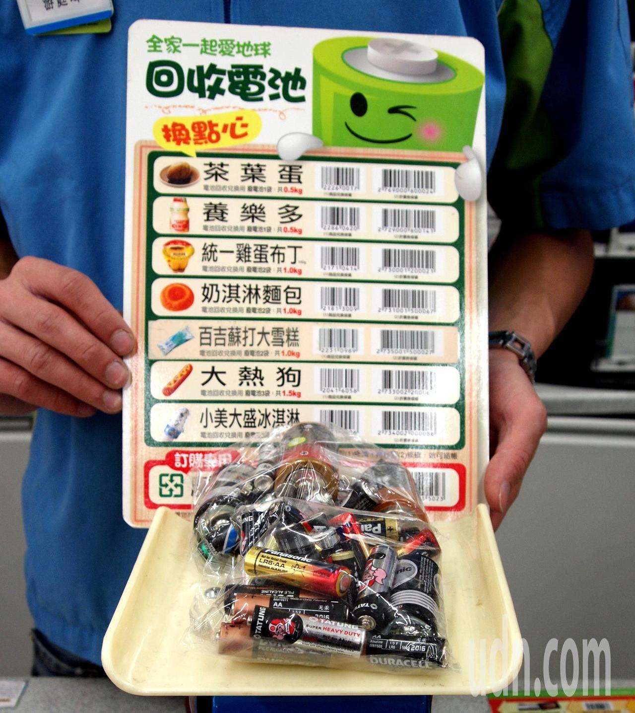 環保署今天宣布,即日起到9月30日止,民眾拿半公斤的廢電池到統一超商、全家便利商...