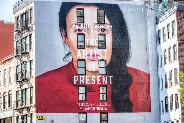 紐約Lafayette Street「藝術家此在」展覽宣傳藝術牆。圖/Gucci...