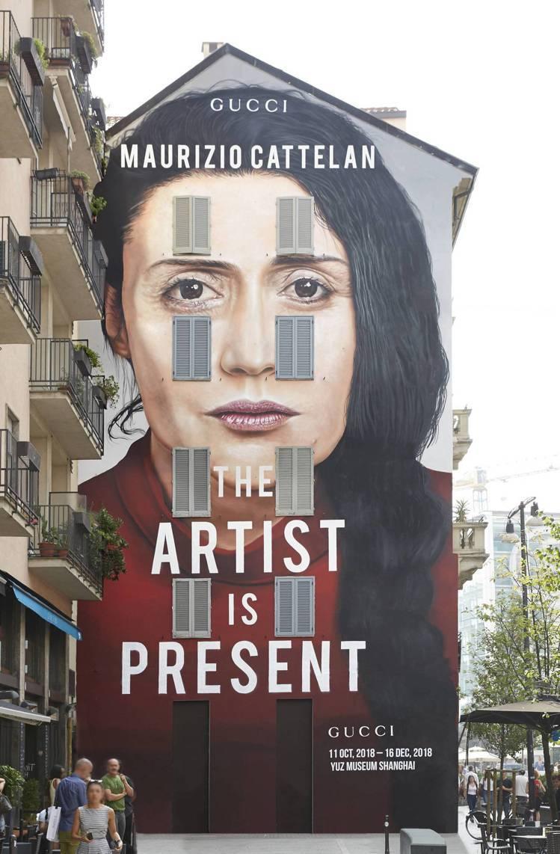 米蘭Largo la Foppa地區「藝術家此在」展覽宣傳藝術牆。圖/Gucci...
