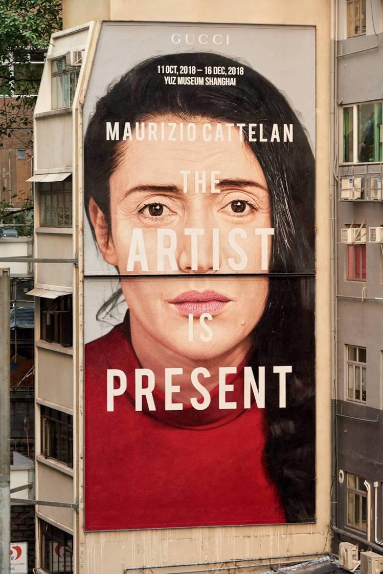 香港「藝術家此在」展覽宣傳藝術牆。圖/Gucci提供
