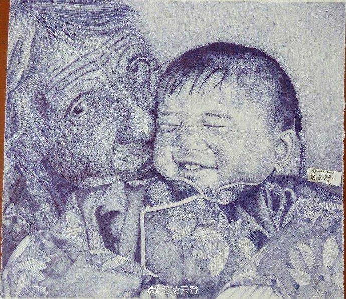 凌雲登畫作多以老人為題材。圖/翻攝自凌云登微博