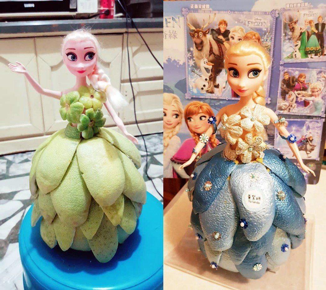 《冰雪奇緣》的Elsa公主穿著美麗的柚子裙。 圖片來源/爆廢公社