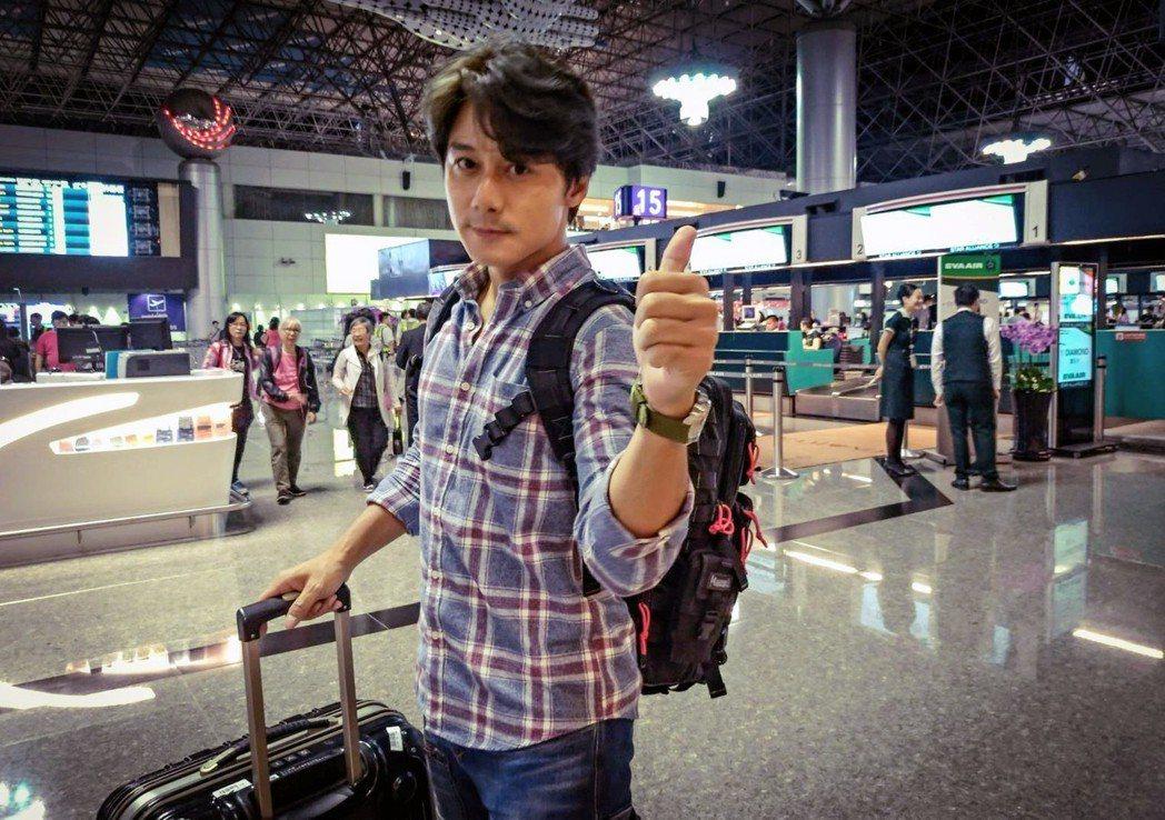 廖科溢昨天出發。圖/亞洲旅遊台提供