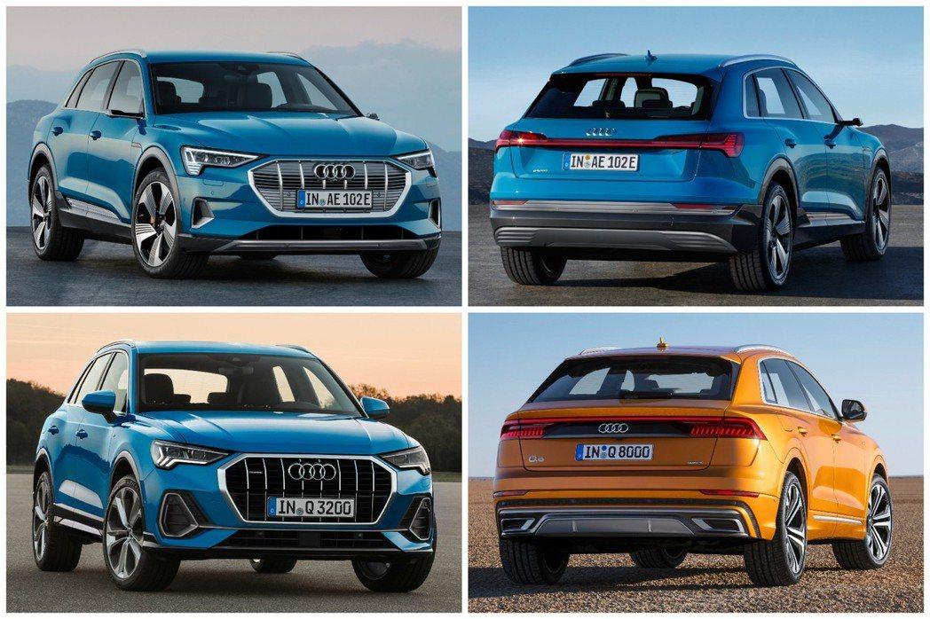 全新Audi e-tron在外觀設計上,承襲不少新世代Q3與全新Q8的風格。圖上...