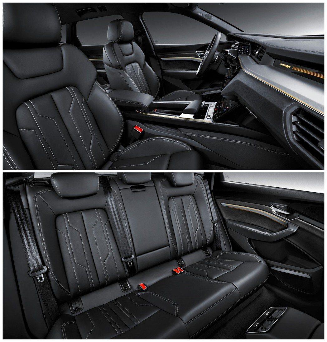 全新Audi e-tron前後排座椅。 摘自Audi