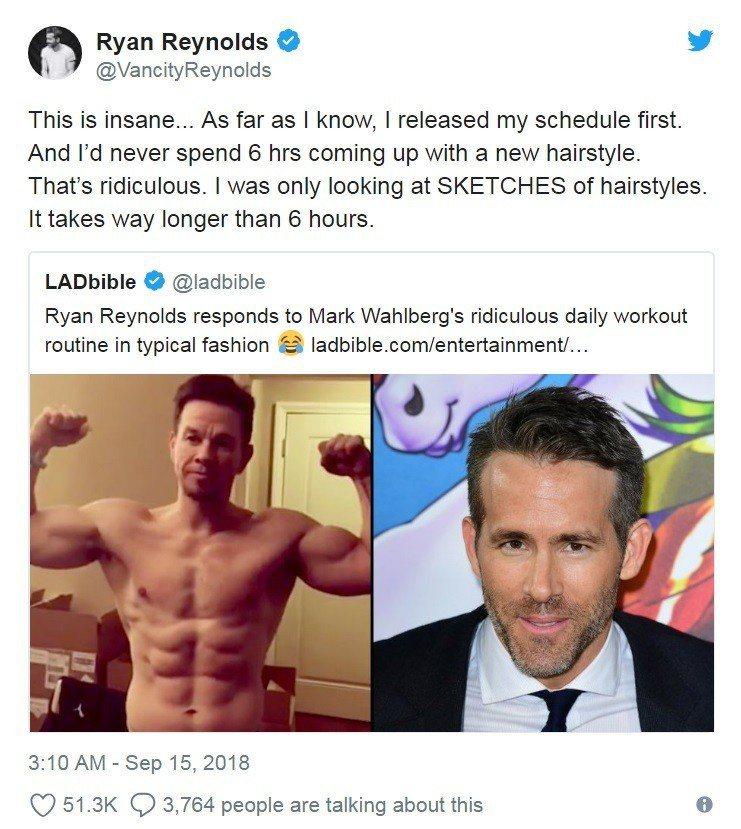 「死侍」萊恩雷諾斯(右)模仿男星馬克華柏格(左)分享自己的行程。取自Ryan R...