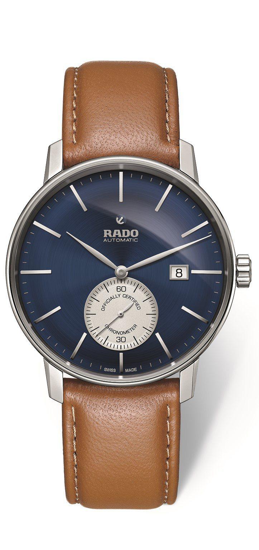 雷達COUPLE Classic小秒針天文台認證矽游絲腕表,不鏽鋼表殼搭配藍色表...