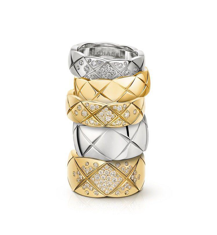 COCO CRUSH系列戒指有米色金、黃K金、白k金三種材質、窄版或寬版、鑲鑽與...