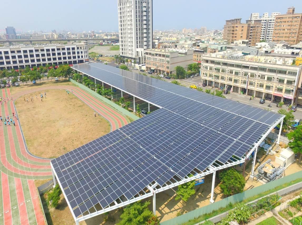 高雄市鳳翔國中完成全國首座由業者全額出資興建的太陽能光電風雨球場,一旦天氣太熱或...