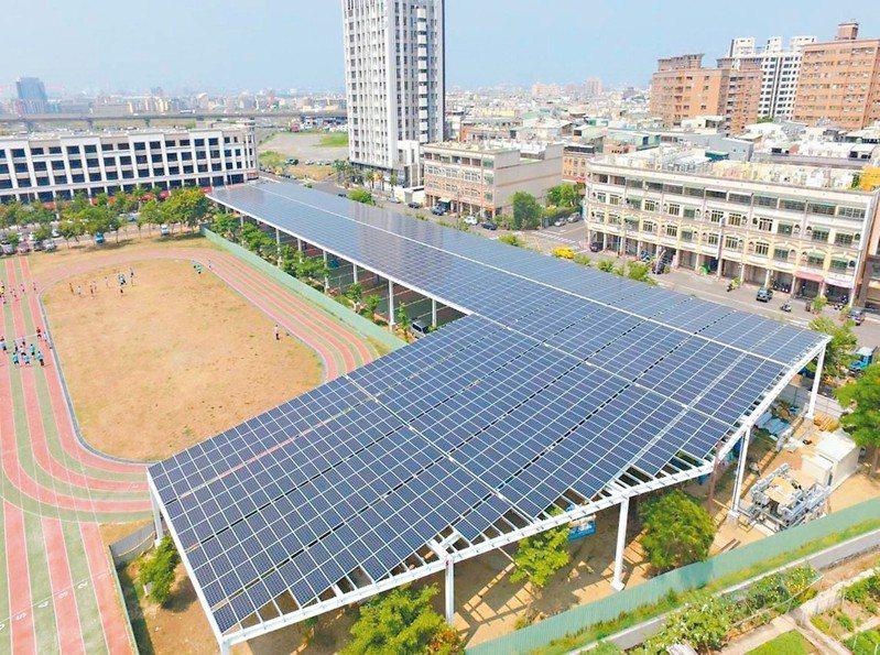 高雄市鳳翔國中完成全國首座由業者全額出資興建的太陽能光電風雨球場。 圖/體育署提供