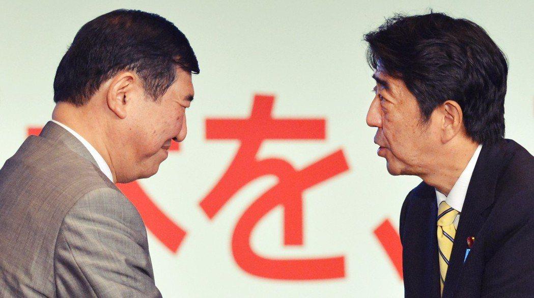 早在2012年,安倍與石破的宿命對決,即因自民黨總裁選舉展開了多年來的競爭。 圖...